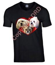 Lhasa Apso Tshirt, Heart Dogs T-shirt Crew Neck V Neck Birthday Gift