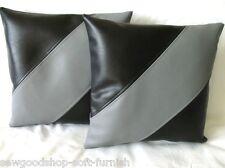 """2 Noir & Gris Diagonal à rayures en cuir synthétique housses de coussin 16"""" 18"""" 20"""" Oreillers"""