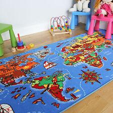 Kids Play Mat Educational Fun World Map Country Rug Non-Slip Flat Earth Kids Mat