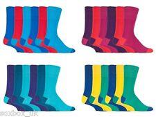 6 Pairs Mens Gentle Grip No Elastic Socks 6-11 Uk, 39-45 Eur Bright Colour Burst