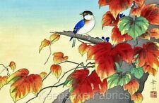 Oriental Blue Bird Autumn Foliage Crazy Quilt Block Multi Sz FrEE ShiP WoRldWiDE