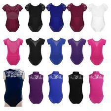Kids Short Sleeve Leotard Girls Ballet Dance Gymnastics Lace Jumpsuit Dancewear