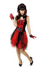 Vampire Witches Fancy Dress Devil + Collar Black Red Women's