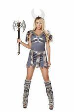Roma 4pc Sexy Viking Warrior Princess Grey Dress w/ Faux Fur Costume 4678