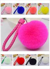 "New 3.15"" Soft Rabbit Fur Ball Fluffy Ring Handbag Car Bag accessories KeyChain"
