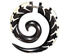 Fake Horn Ear Gauge Carved Handmade Spiral Bone Earring Split Hook Silver Bar