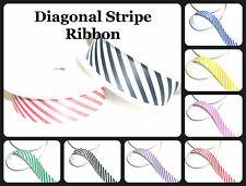 TOP QUALITY DIAGONAL STRIPE PRINTED RIBBON 25MM, 5 MTRS VARIOUS COLS, ART 54351