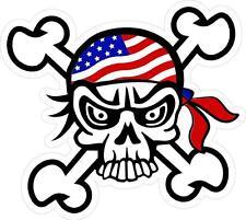 3 - Old Glory US Flag Skull And Crossbones Tool Box Hard Hat Helmet Sticker H163