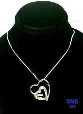 "14k White Gold Diamond 15 points Double Hearts Pendant &18 ""Chain"