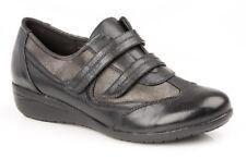 Boulevard Mujer Negro y Estaño Doble Correa Ajustable Zapatos de Diario