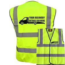 PERSONALISED CUSTOM PRINTED CAR RECOVERY TRUCK DELIVERY HI VIS VIZ YELLOW VEST