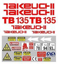 Decal Sticker Set Pour: Takeuchi TB135 Mini Digger Pelle Bagger Pelleteuse