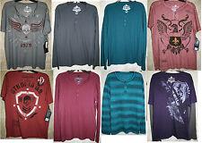 NWT Helix Long Short Sleeve 3 button snap Henley shirt Soft Mens Graphic