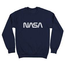 Retro Nasa Logo Space  80S  Camp  Cosmos Navy Crewneck Sweatshirt