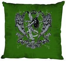 10898-1 verde Cojín decorativo 40x40 cm almohadas con relleno+Imprimir ELFO ALA