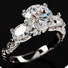 White Gold p Three stones Round Cut lab Diamond Engagement Engraved Wedding Ring