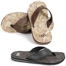 Urban Beach Mens Colorado Leather Flip Flop Sandals Beach Shoes, Brown or Grey