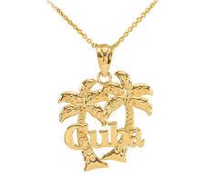 Cuba Palm Tree 10k Gold Pendant Necklace