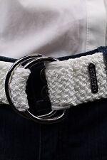 """Ralph Lauren Weiß Geflochten Gürtel 2 """" Silberne Schnalle Logo Nwt"""
