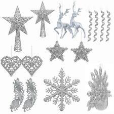 Christmas Tree Decoration - Glitter - Silver - Choose Item