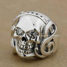 Guitar Music Skull 925 Sterling Silver Clear CZ Eyes Mens Biker Ring 9D009A