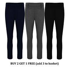 Girls School Trousers Black Grey Navy Slim Leg Adjustable Waist Uniform