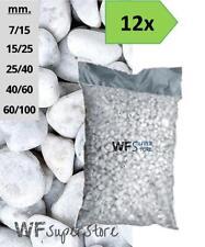Ciottoli di marmo Bianco Carrara - 12 sacchi da 25 kg - sassi pietre giardino