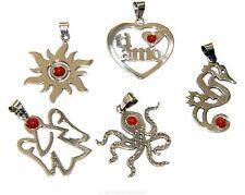collana con ciondolo argento 925 taglio laser mezza perla corallo rosso naturale