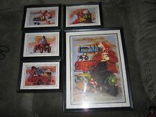 Vintage CHUCK OBERSTEIN Clown Art Prints! Set of 5 Framed!