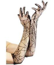 Spiderweb Lace Long Gloves Black Ladies Accessories Spider Web Adult Halloween