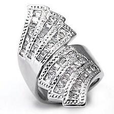 X7X108PB DOUBLE FAN BAGUETTE  PAVE SET WOMENS SIMULATED DIAMOND RING SPARKLE