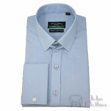 Loop collar Sky Blue Formal Office shirt James Bond Tab collar style for Gents