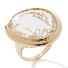 Technibond Freeform Clear Quartz Gemstone Ring 14K Yellow Gold Clad Silver 925