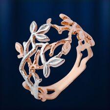 Rose Rotgold 585 Goldring Zweige Ring Zweig-Ring BICOLOR  Blume rhodiniert