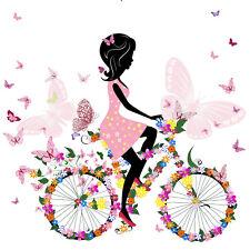 FR01 Bügelbild Mille Fleur Blumen Rad Girl Schmetterling Love helle Stoffe A5 A4