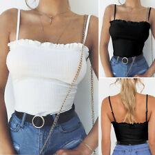Women Ruffles Tank Crop Tops Vest Off Shoulder Halter Blouse Daily T-Shirt Camis