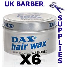6 x Dax Hair Wax WASHABLE Tins 99g