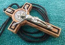 St Saint Benedict Crucifix Cross Olive Wood Catholic Pendant Necklace 1.55 inc