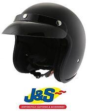 VCAN V537 MATT BLACK OPEN FACE MOTORCYCLE HELMET CRUISER  MOTORBIKE J&S
