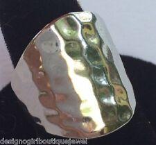 Hammered Cigar Band Ring Rhodium PL Contemporary Silver-tone