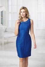 New Kaliko Bright Blue Jewelled Neck Cut Out Back Dress Sz UK 8 rrp £120