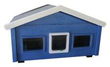 Outdoor Katzenhaus wetterfest Landhaus mit Katzenklappe und 2 Fenster - HS2-L-2F