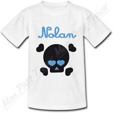 T-shirt Enfant Tête de Mort Yeux en Coeur Bleu avec Prénom Personnalisé