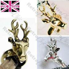 BIG deer STAG HEAD quality ANTLERS RING gold/silver pltd vintage brass S,M,L,XL