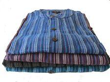 GRINGO Men's Striped Cotton Loose Fit Nepalese GRANDAD SHIRT Hippy M/ L XL XXL