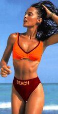Damen Bügel Bikini Badeanzug Bordeaux Orange Sportlich Größe 36 B-Cup 36 E-Cup