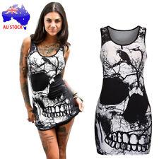 Halloween Women's Sleeveless Skull Printed Vintage Vest Dress Loose Casual Dress