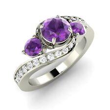 Three Stone Engagement Ring in White Gold 1.12 Ct Amethyst & SI Diamond FINE EDH