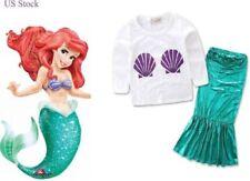 Girls Kids Long Sleeve Little Mermaid Top Skirt Set Princess Fancy Dress  K1