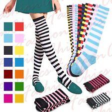 Women Stripe Over The Knee Socks Girls Thigh High Stretchy Socks Fancy Dress